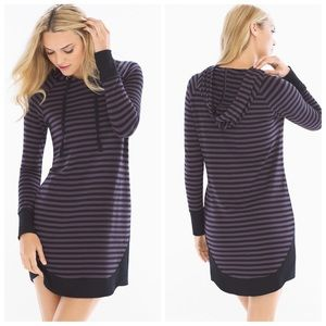 NWT Soma Striped French Terry Hooded Tunic Dress